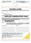 Buyer's Guide - Implied Warranty - 2 Part - Self Adhesive - Hanging
