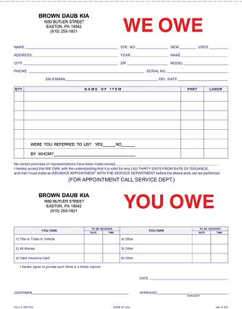 Vehicle Purchase Agreement >> We Owe/You Owe Form - Imprinted