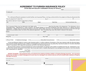 Agreement to Furish Insurance
