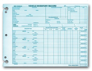 Vehicle Inventory Record - DSA-542-85