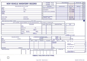 Vehicle Inventory Cards | DUAS-305-1