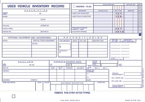 Vehicle Inventory Cards | DUAS-305-2