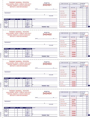 Cash Receipt Books - 3 Part - Automated - Imprinted | AA-138NC-1S2L-2