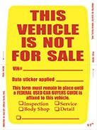 Vehicle Not For Sale Sticker (Face Stick)