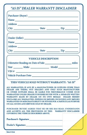"""AS IS"" Dealer Warranty Disclaimer"