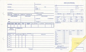 Appraisal Forms - Used Vehicle - 3 Part | 290