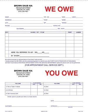 We Owe/You Owe Form - Imprinted