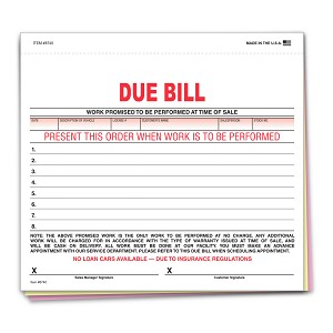 Due Bill - 3 part