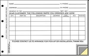 Parts Special Order Form - 3 Part | PAP-SA-112-3